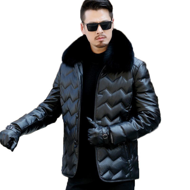 Men's plus size 3XL Winter keep warm white duck   down   leather jacket   coat   with fox collar men   down   motorcycle   coat