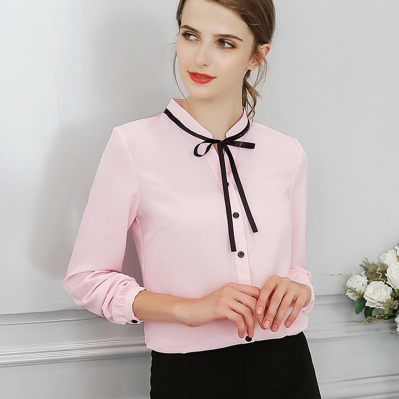 Women Blouses Autumn Tops Office Ladies Chiffon Blouse Long Sleeve Bow Slim White Shirt Bodycon Work Shirts Blusas Mujer