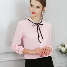 Vrouwen Blouses Herfst Tops Office Dames Chiffon Blouse Lange Mouw Boog Slanke Witte Overhemd Bodycon Werk Shirts Blusas Mujer(China)