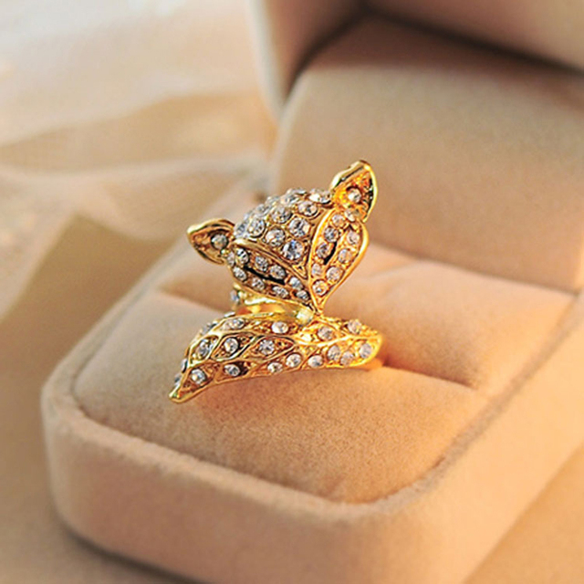 2d2bb5f85 Lovely Sexy Full Shiny Crystal Fox Charming Big Ring Golden Silver Rings  for Women Fashion Jewelry