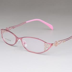 Image 3 - BCLEAR женские деловые оправы для очков полые резные металлические полные оправы красивые модные ультралегкие очки из сплава Новинка