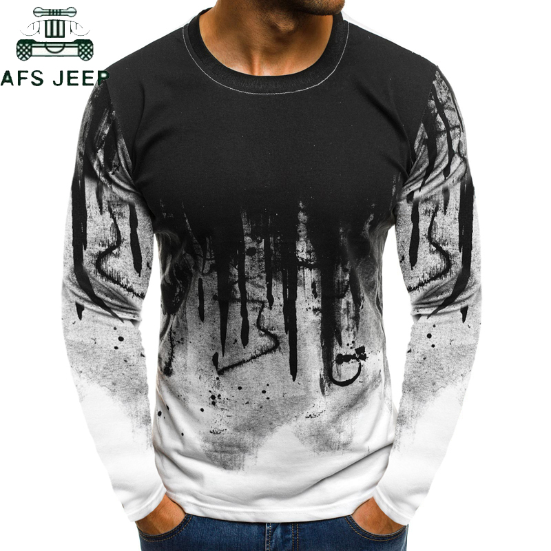 2019 Men Camouflage Printed Male T Shirt Bottoms Top Tee Male Hip Hop Streetwear Tee Shirt Homme Long Sleeve Fitness Tshirts Men
