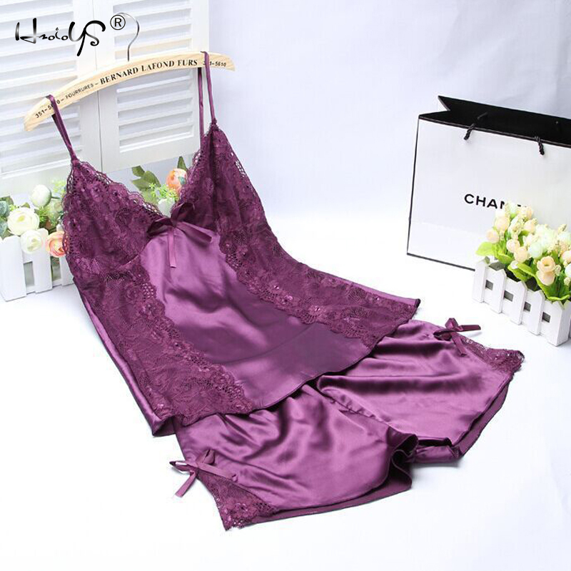 Women Summer Spaghetti Strap Lace Applique Satin Cami Top And Shorts Pajamas Set V Neck Trim Pijama Cami Bridal Sleepwear Sets