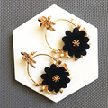 Coco&willow chiffon flower drop statement earrings for women, dolce style oversized spring ethnic earrings 2018