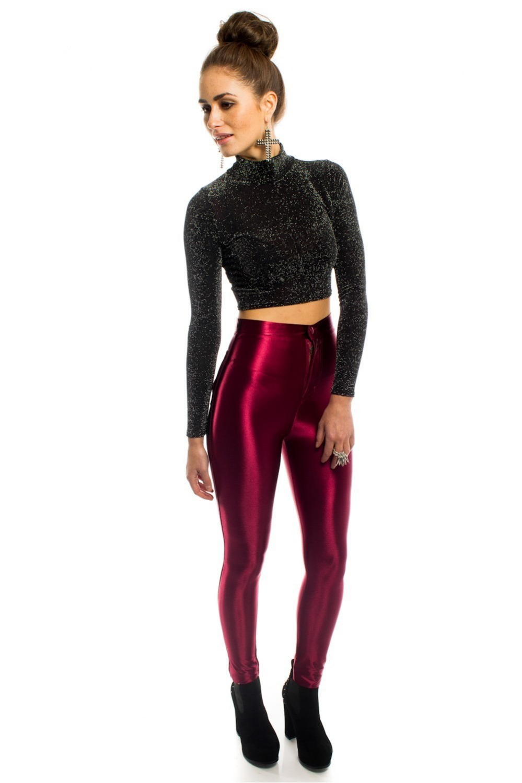 2014 Polyester Spandex Formal Skinny Pants Women Skinny Disco Pants Tight Fitting High Waist ...