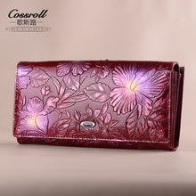 Cossroll бренд 2017 Винтаж Пояса из натуральной кожи кошелек новые европейские модные женские длинные Тиснение цветок Засов бумажник для Для женщин