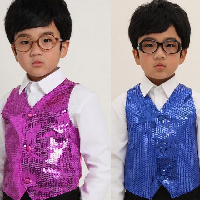 957a46455acb49 Kinderkleidung Jungen Chor studenten durchführung Kinder hip-hop jazz dance  pailletten weste Tanz tragen kostüme