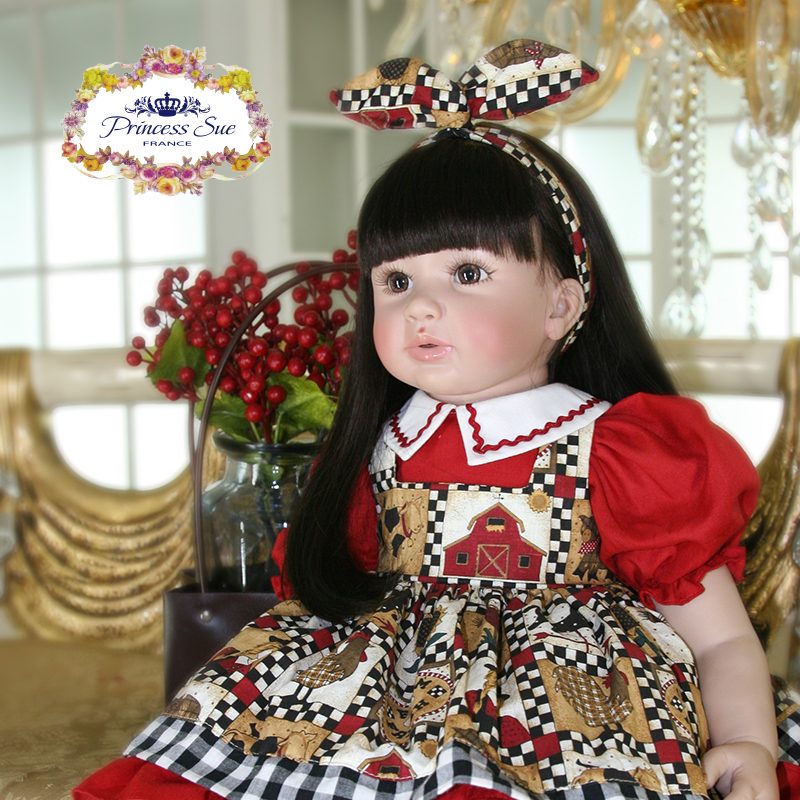 Pursue 24/60cm Silicone Reborn Babies Beautiful Princess Girl With Matching Dress Soft Body Weighted for Cuddle Gifts For Girls цена