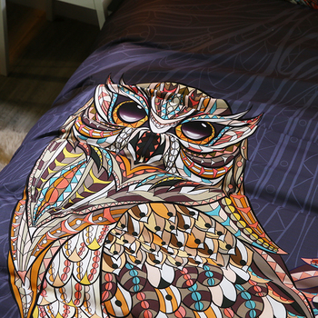 Black Queen Comforter | Classic Owl Bedding Set 1PC Duvet Cover + Pillowcase Black Comforter Cover Soft Animal Bed Set For US King Queen Full Bedroom