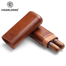 Portable Travel Cigar Leather Case with Cedar Wood 2 Sticks Gift Pack CF-1901