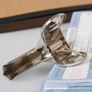 Image 3 - Ücretsiz Kargo (36 adet/grup) 51mm yuvarlak üst Kavrama Klipler Bulldog klip paslanmaz çelik kağıt klip Ofis tedarik metal fatura klip