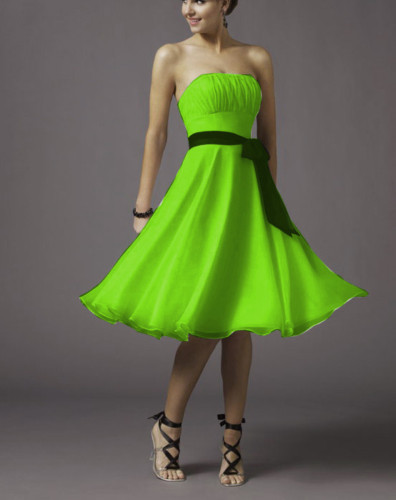 2017 Lime Green A Line Chiffon Tea Length Bridesmaid Dress Bridal Gowns Xs S M L