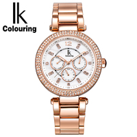 IK Coloring New Luxury Women Lady Week Date 24Hours Quartz Hardlex Pearl Dial Watches Wristwatch Gift