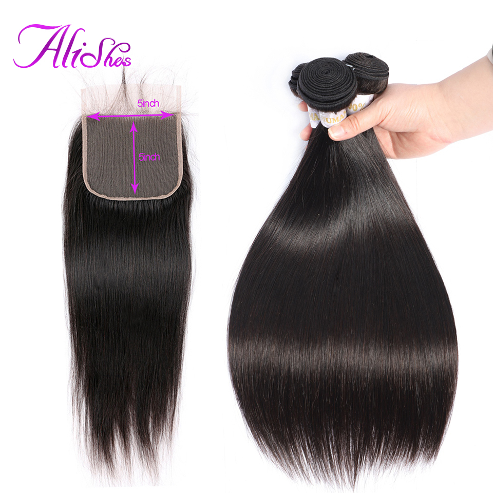 Alishes Hair 3 4 Bundles With 5x5 Lace Closure Natural Hairline Non Remy Brazilian Straight Hair