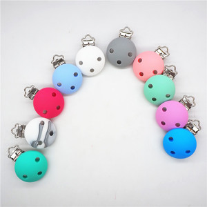 Image 3 - Chenkai 10PCS Silicone Round Teether Clips DIY Baby Pacifier Dummy Teething Soother Nursing Jewelry Toy Accessory Holder Clips
