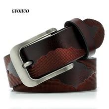Cinturón de piel auténtica de alta calidad para hombre, cinturón con hebilla, jeans