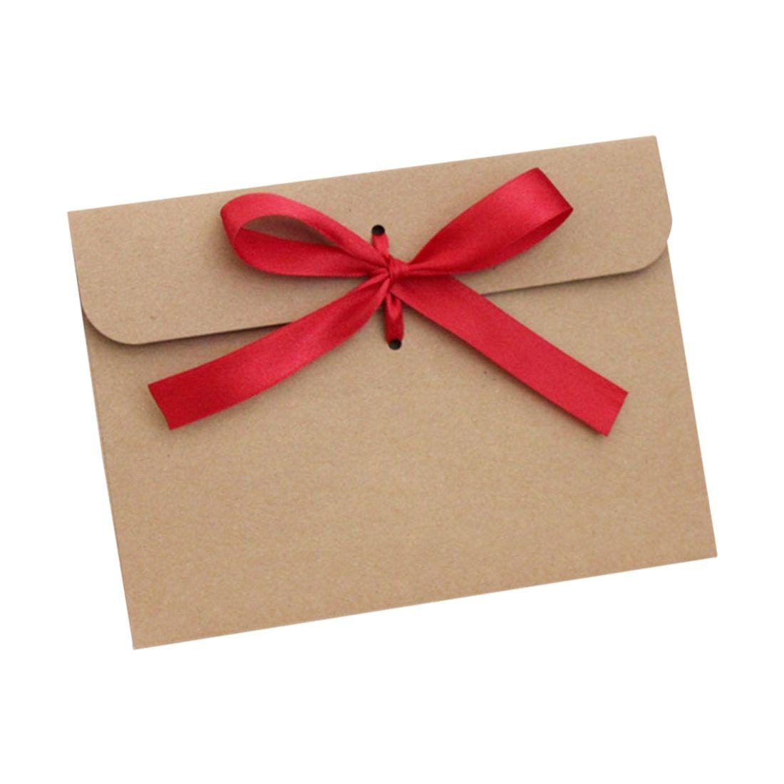 PPYY NEW -12pcs Bow Kraft Envelope