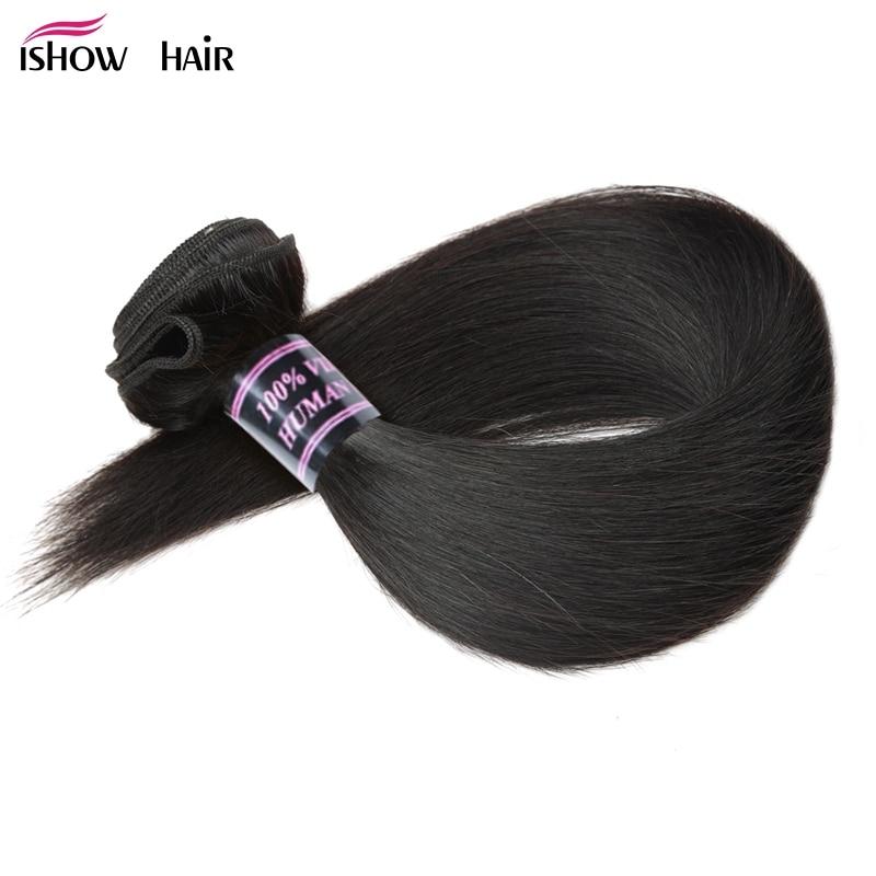 Paquetes de armadura de pelo lacio brasileño Ishow 100% paquetes de cabello humano 1pc extensiones de cabello Natural no Remy 3 o 4 paquetes puede comprar