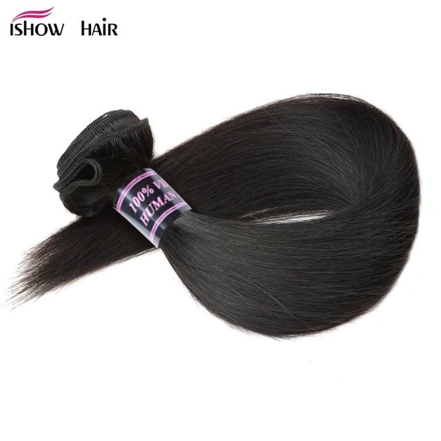 Paquetes de armadura de pelo lacio brasileño Ishow 100% paquetes de cabello humano 1 pc extensiones de cabello Natural no Remy 3 o 4 paquetes puede comprar