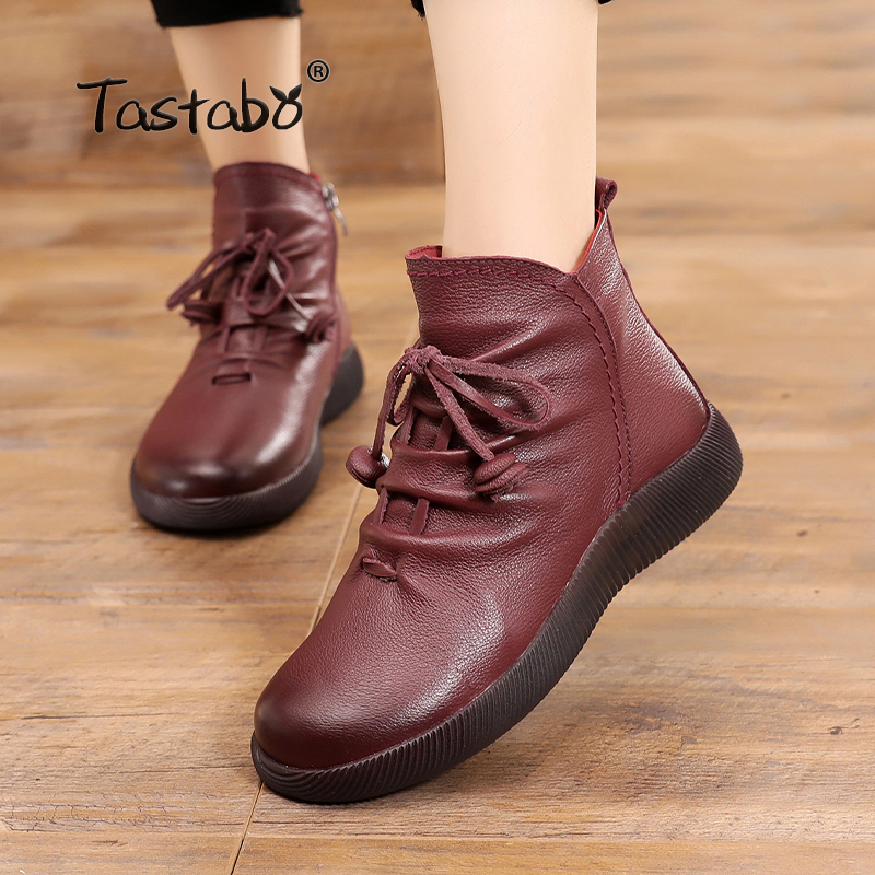 Tastabo Casual Handmade Ankle Boots With Fur Genuine Leather Winter Warm Boots for Women Ladies Shoes Flats Retro Boots Women shangmsh brand women s winter boots 2017 retro handmade genuine leather ankle boots soft casual ladies autumn shoes