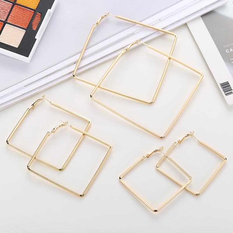Personality Simple Metal Square Geometric Earrings Fashion Hoop Earrings For Women Accessories Trendy Jewelry boucle d 39 oreille in Hoop Earrings from Jewelry amp Accessories
