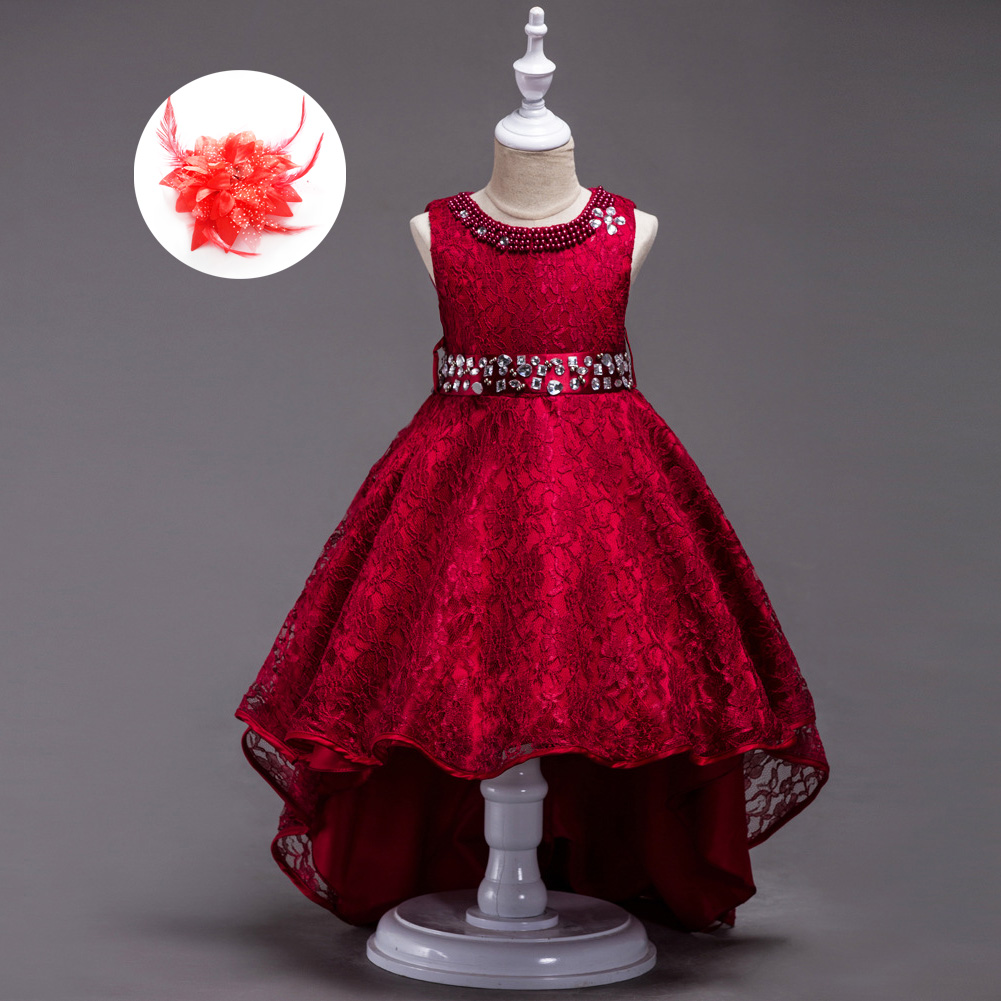 Lace Girl Clothing Princess Kid Red Blue Black Burgundy Birthday Party Dresses for Girls Children's Vest Wedding Outfits цена в Москве и Питере