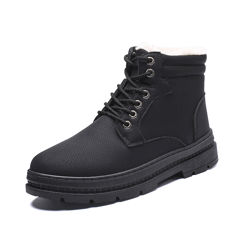 YOYLAP Microfiber Leather Men Winter Boots Handmade Warm Men Winter Shoes snow boots