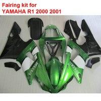 АБС пластик обтекатели для Yamaha YZFR1 2000 2001 зеленый черный белый кузовные детали, установленные зализы YZF R1 00 01 ВА57