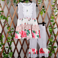 Persnickety Remake Infant Spring Clothing Sleeveless Patchwork Top Gray Stripes Ruffle Pants Girls Kintted Cotton Suit