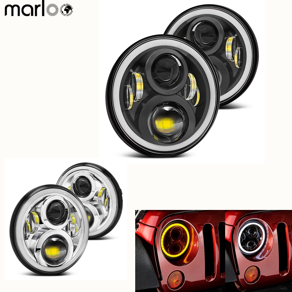 Marloo 4pcs 7 Inch Round LED Headlight DRL For Lada 4x4 urban Niva Jeep Wrangler Hummer Land Rover defender W/ Harley Motorcycle bumvor watches women fashion watch 2017 unisex watches rose gold silver lady clock men relogio masculino horloge orologi donna