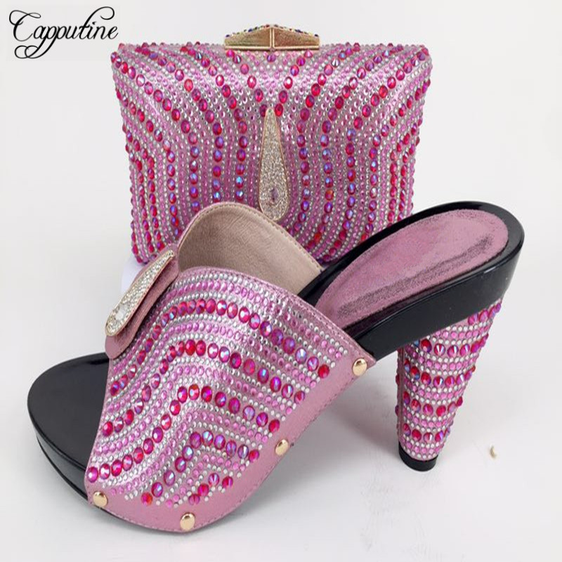 Capputine Hot Sale Fashion Design Stone Shoes With Matching Bag Set Nigerian Wedding Shoes With Bag Set 9Colors Shipping DHL cd158 1 free shipping hot sale fashion design shoes and matching bag with glitter item in black