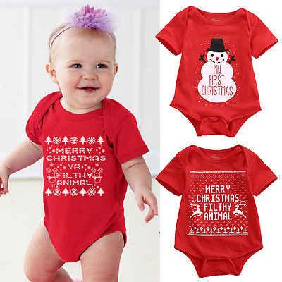 94b88d67ab0 Newborn Baby Girls Boys Christmas Romper Santa Claus Bodysuit snowflakes Jumpsuit  baby Outfit Set Christmas Costume