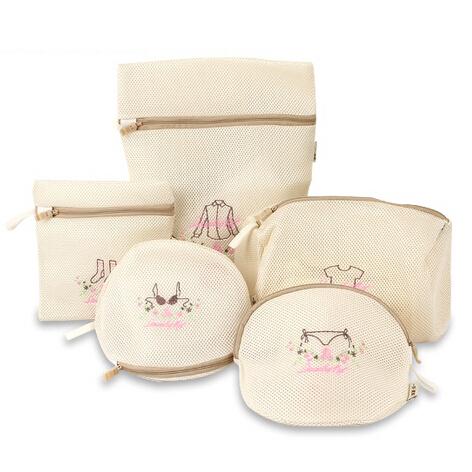 5 pçs/set Bordado de Alta Qualidade saco de lavagem sutiã saco de roupa de malha meias bolsa de viagem sacos de embalagem para lingerie camisas lavadora
