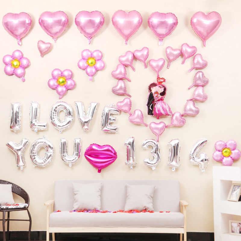 Promoción 10 pulgadas forma de corazón aluminio globo de aire de papel aluminio chico juguetes boda fiesta decir amor decoraciones matrimonio Ballon suministros