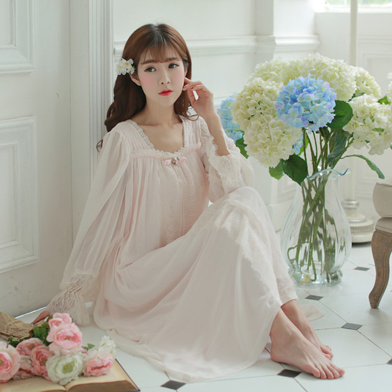Free Shipping 2017 New Summer Women s Long Pyjamas Princess Sleepwear  Chiffon and Modal Nightgown Purple Pink White PT1626-in Nightgowns    Sleepshirts from ... b542b8f36