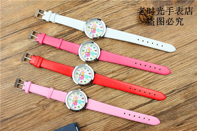 Małe dziewczynki uroda kwiaty dial zegarek kwarcowy wysokiej jakości dzieci dorywczo skórzana sukienka zegarek dziecko sukienka prezent El reloj zegar