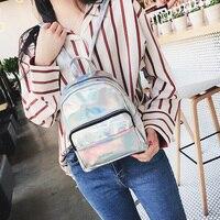 Hologram Backpack For Girls School Small Bag Flash Mini Backpack Feminine Youth Laser Back Pack Metal