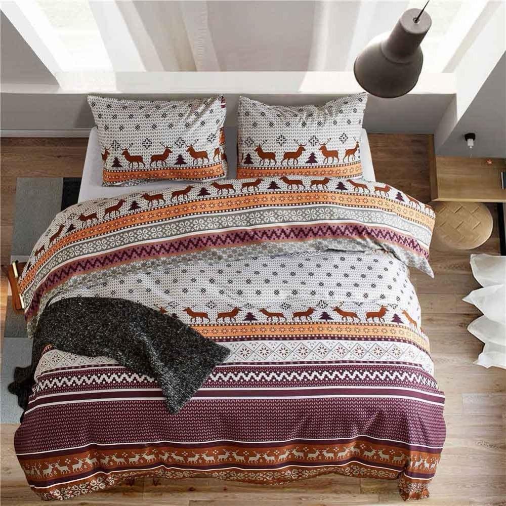 Bohemian Elk Bedding Christmas Tree Bedding Set Single Twin Queen King Size Geometric Duvet Cover Sets Pillowcase Bed Linen