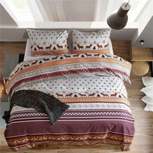 Bohemian Elk Bedding Christmas Tree Bedding Set Single Twin Queen King Size Geometric Duvet Cover Sets Pillowcase Bed Linen