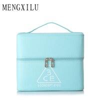 MENGXILU Double Layer Cosmetic Bag Cross PU Cosmetics Multifunctional Make Up Makeup Bag Toiletry Bag Trousse