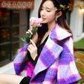 Dabuwawa 2016 новая мода зима верхняя одежда большой turn down воротник свободные фонарь рукав плед шерстяное пальто женщины