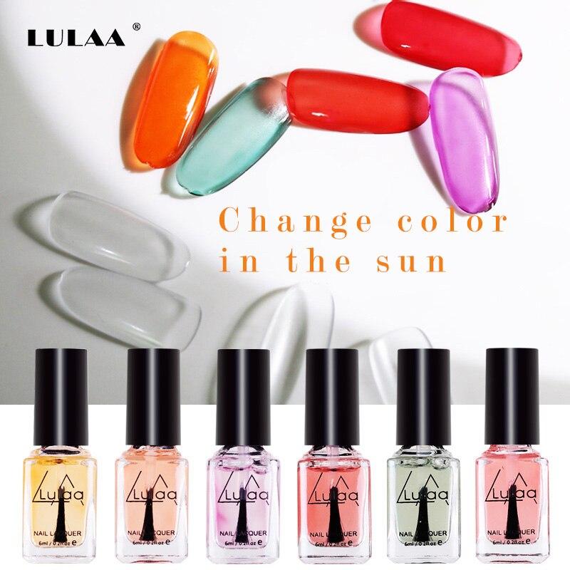 LULAA 2019 Nail Art Color Changing Nail Polish 6ml Color Nails Quick Dry Shiny Nail Polish Top Coat Change Color In The Sun