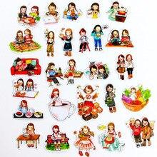 5packs kawaii cartoon sticker beauty girl Stickers PVC Scrapbook diary hand book girls kids toys Skateboard waterproof pegatinas