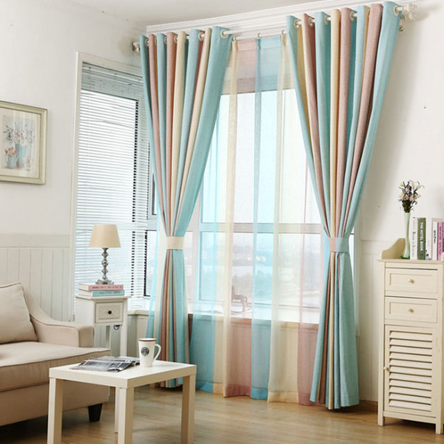 European Style Color Blackout Bars Jacquard Curtains For Bedroom Tulle Sets In The Nursery Drapery