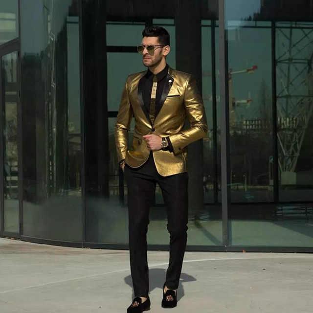 2019 индивидуальный заказ Золото Нарядные Костюмы для свадьбы модные Двойка женихов Для мужчин приталенные смокинги Дешевые Пром вечерние костюмы мужской костюм (куртка + брюки)