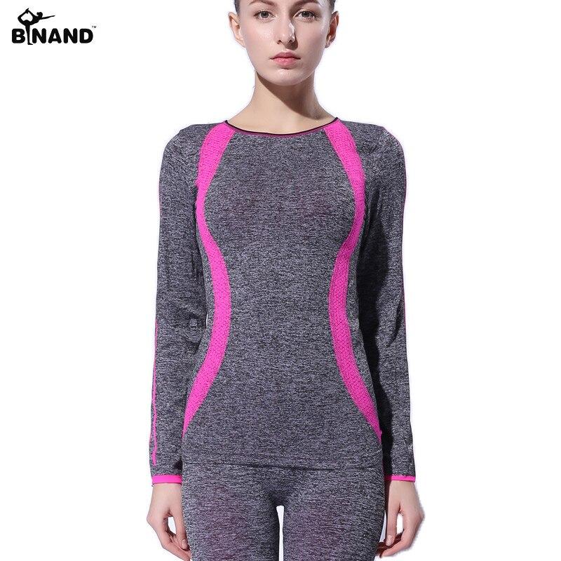 BINAND Women Slim Yoga sports long Sleeves Shirt High Elastic Training Running Exercise Slim Stretch Soft Sports Yoga Tops цена