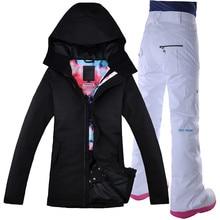 2018 Women Ski Suit Thermal Jacket Pant Waterproof Windproof Skiing Snowboard Super Warm Outdoor Sport Wear Female Suit Clothing