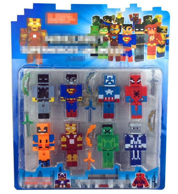 Minecraft Avengers Hero Iron Men Captain America Hulk Overworld Hangers Accessories Toys Star Wars Darth Vader Building Blocks
