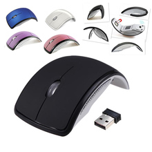 Ultrathin 2 4GHz Foldable Wireless Arc Optical Mouse Mice with Mini USB Receiver for Pad PC