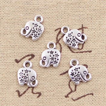 50pcs Charms Lovely Elephant Star 11x8mm Antique Silver Color Plated Pendants Making DIY Handmade Tibetan Jewelry